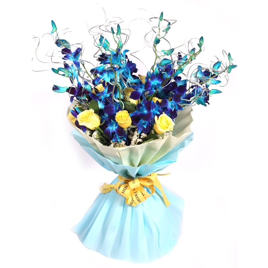 Bouquet of blue orchids with zig zag sticks
