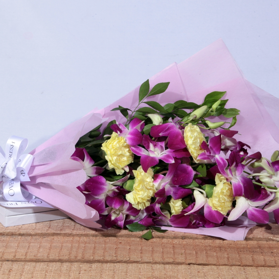 Beauty in Luxury  (orchid  and Carnations flowers)