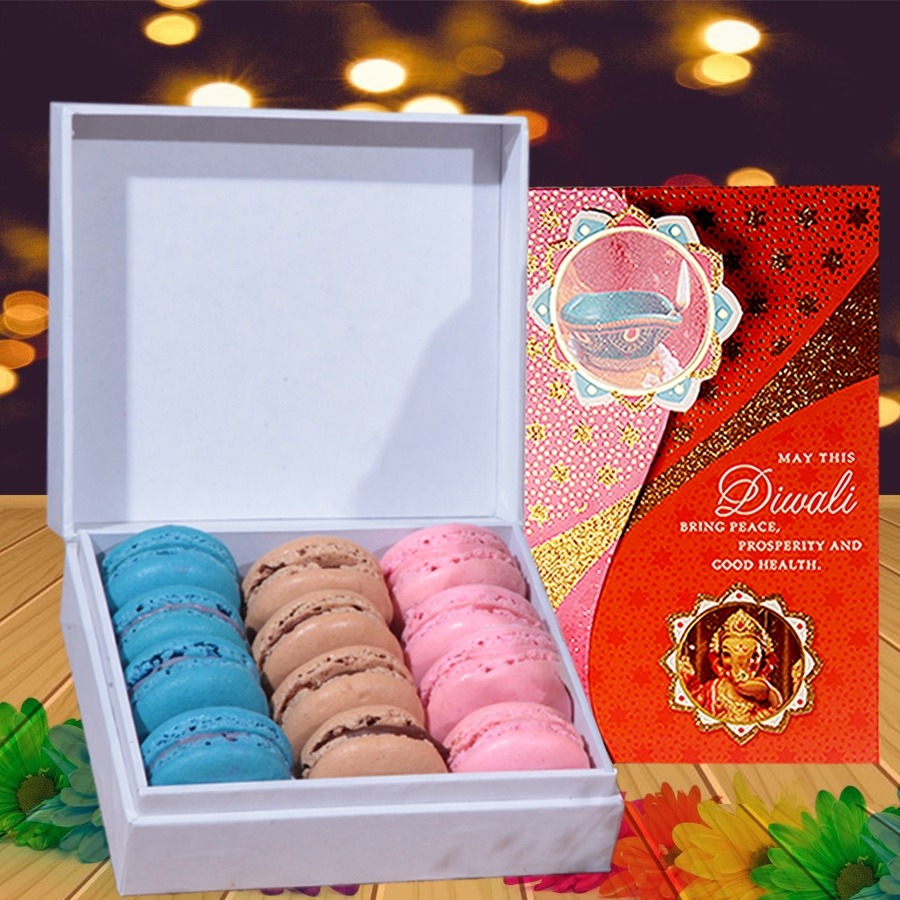 Diwali card with Box of 12 Macaron(Contains Egg)