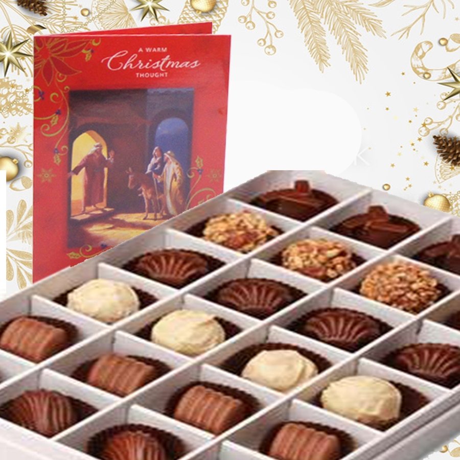 Christmas box of 24 chocolate  pralines and a christmas card