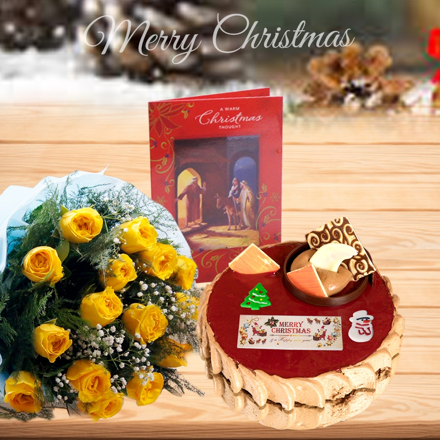 Christmas Chocolate crousillant 500gms ,bouquet of 12 yellow roses and christmas card
