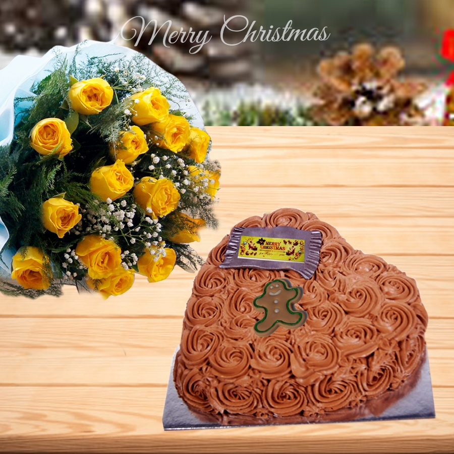 Christmas Chocolate dutch truffle heart shape swirls cake 500gms and bouquet of 12 yellow roses