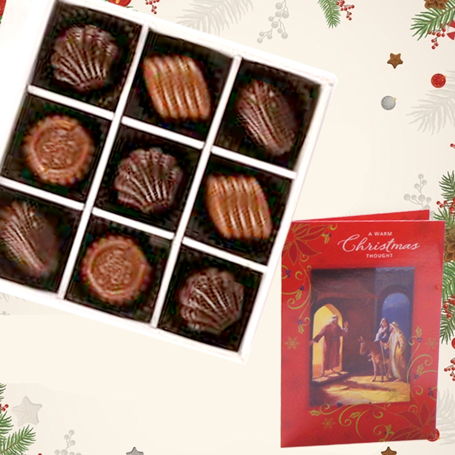 Christmas Box of 9 chocolate pralines and christmas card