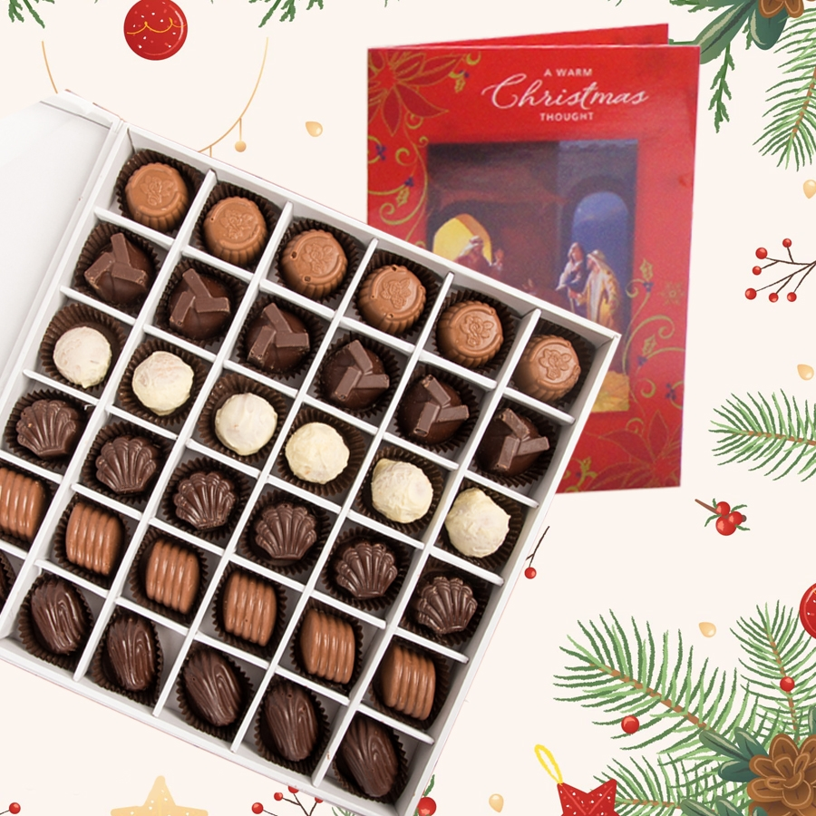 Christmas Box of 36 chocolate pralines and christmas card