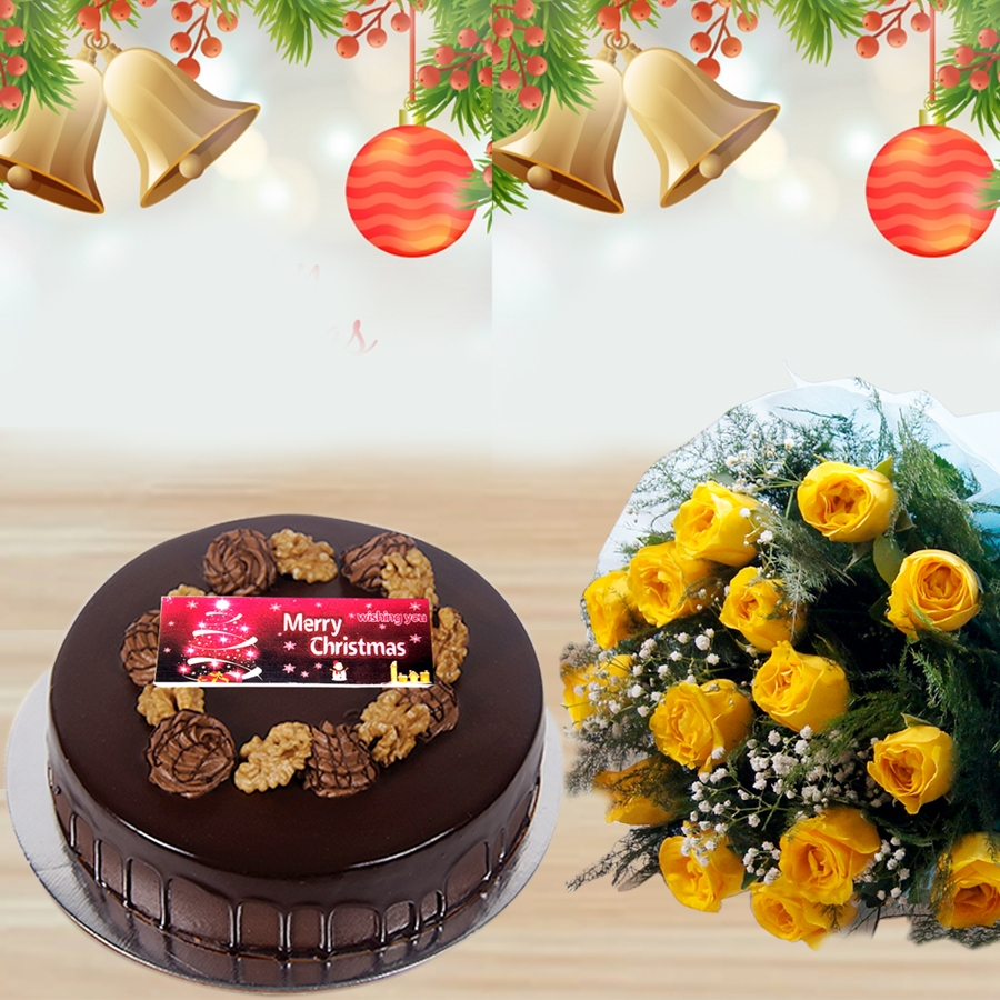 Christmas Chocolate walnut dutch truffle cake 500gms and bouquet of 12 yellow roses