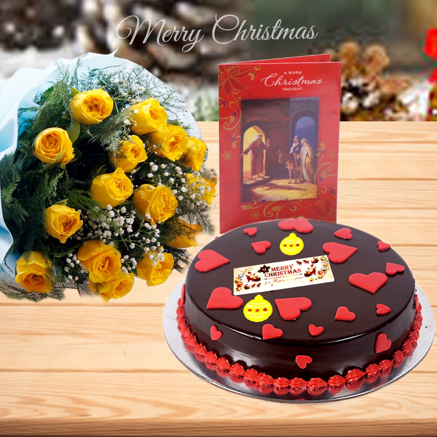 Christmas dutch truffle love cake 500gms ,bouquet of 12 yellow roses and christmas card