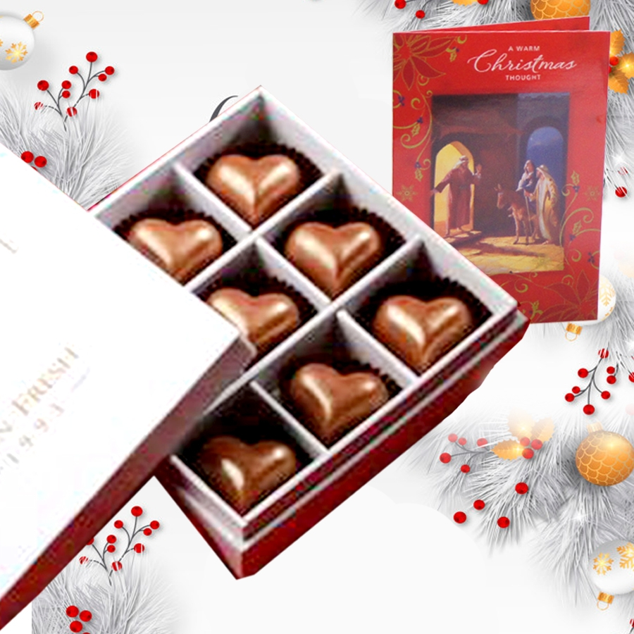 Christmas Box of 9 Heart shaped chocolate filled with caramel and christmas card