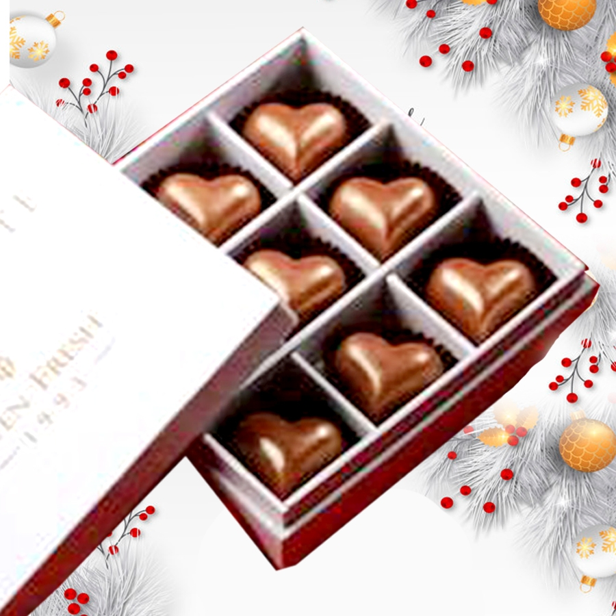 Christmas Box of 9 Heart shaped chocolate filled with caramel