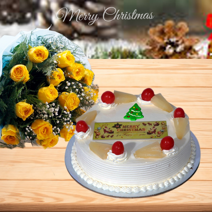 Christmas Pineapple cake 500gms and bouquet of 12 yellow roses