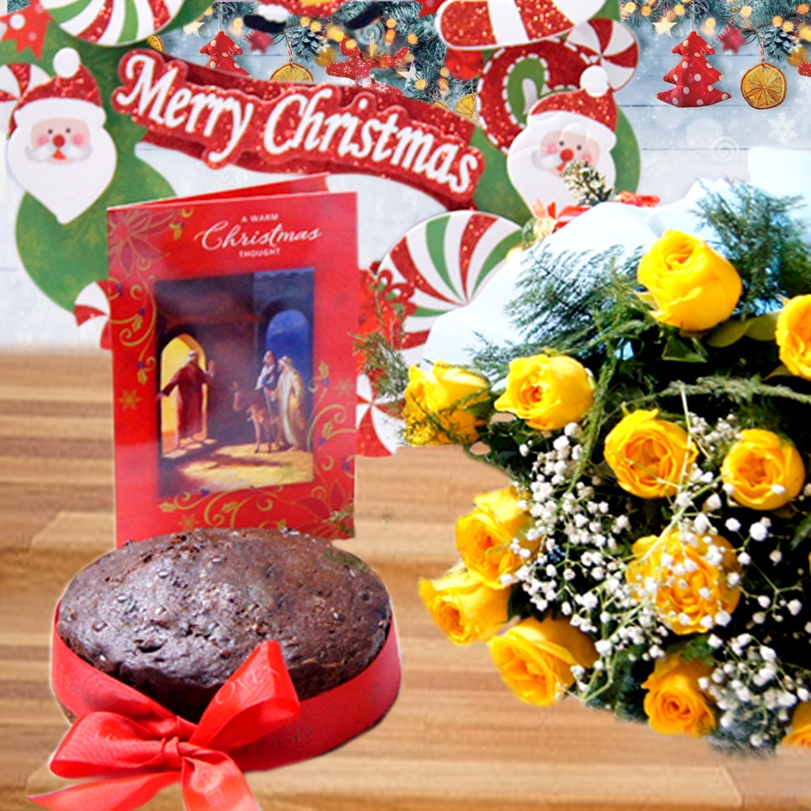 Christmas Plum cake round with a christmas card and bouquet of 12 yellow roses