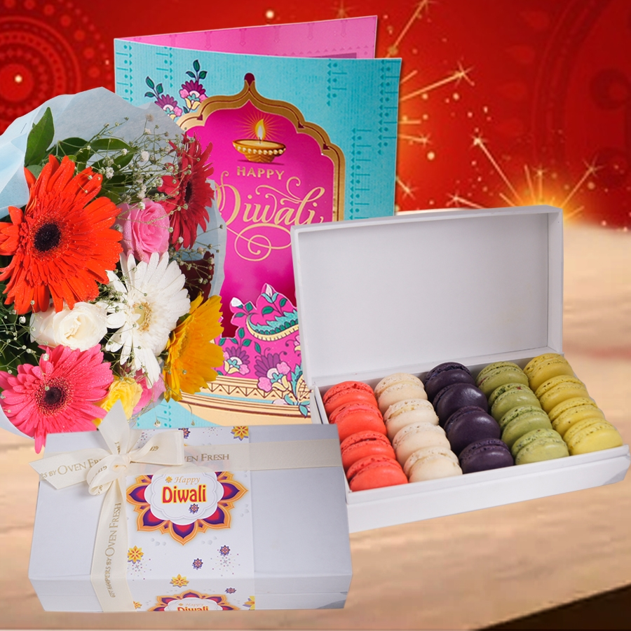 Diwali box of 20 macarons, Diwali card and a bouquet of roses and gerbera