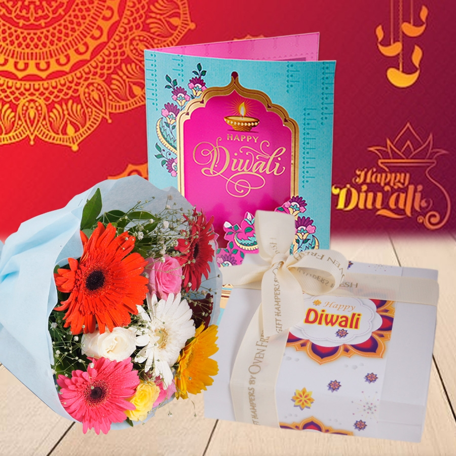 Diwali box of 9chocolate praline, Diwali card and a bouquet of roses and gerbera