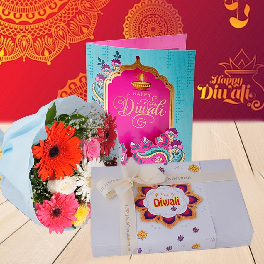 Diwali  card and Bouquet of mixed roses and gerberas and Box of 24 chocolate pralines