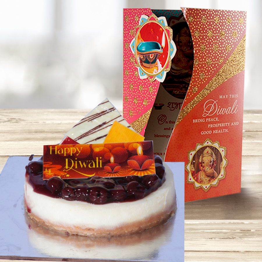 Diwali card with baked cherry cheese 500gms
