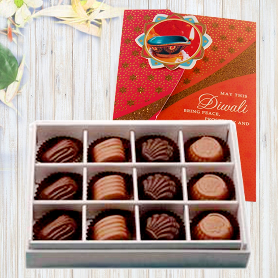 Diwali card with Box of 12 chocolate pralines