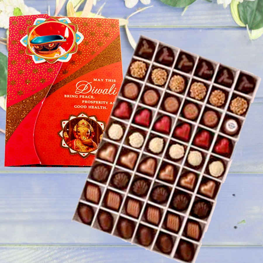 Diwali card with Box of 54 pralines