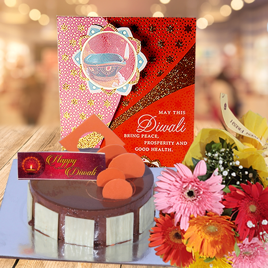 Diwali  caramel panacotta cake 500gms and hand bouquet 6 flowers