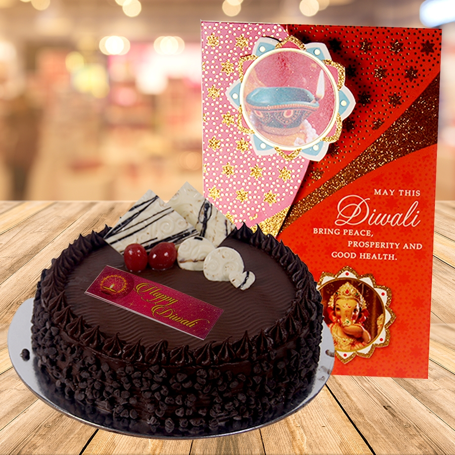 Diwali card with chocolate chip cake 500gms