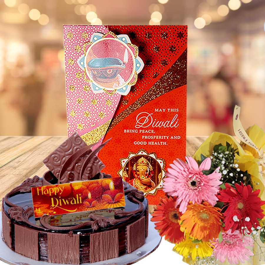 Diwali card with chocolate dutch truffle 500 gms  and hand bouquet 6 flowers
