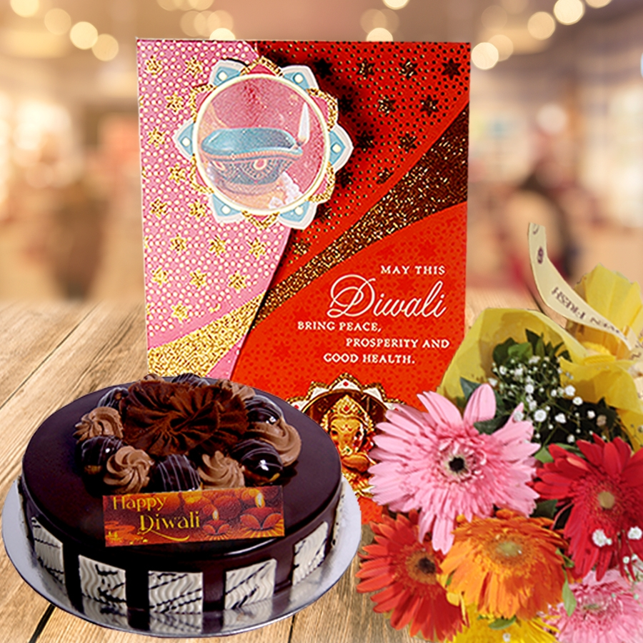 Diwali card with chocolate dutch truffle choux buns 500 gms  and hand bouquet 6 flowers