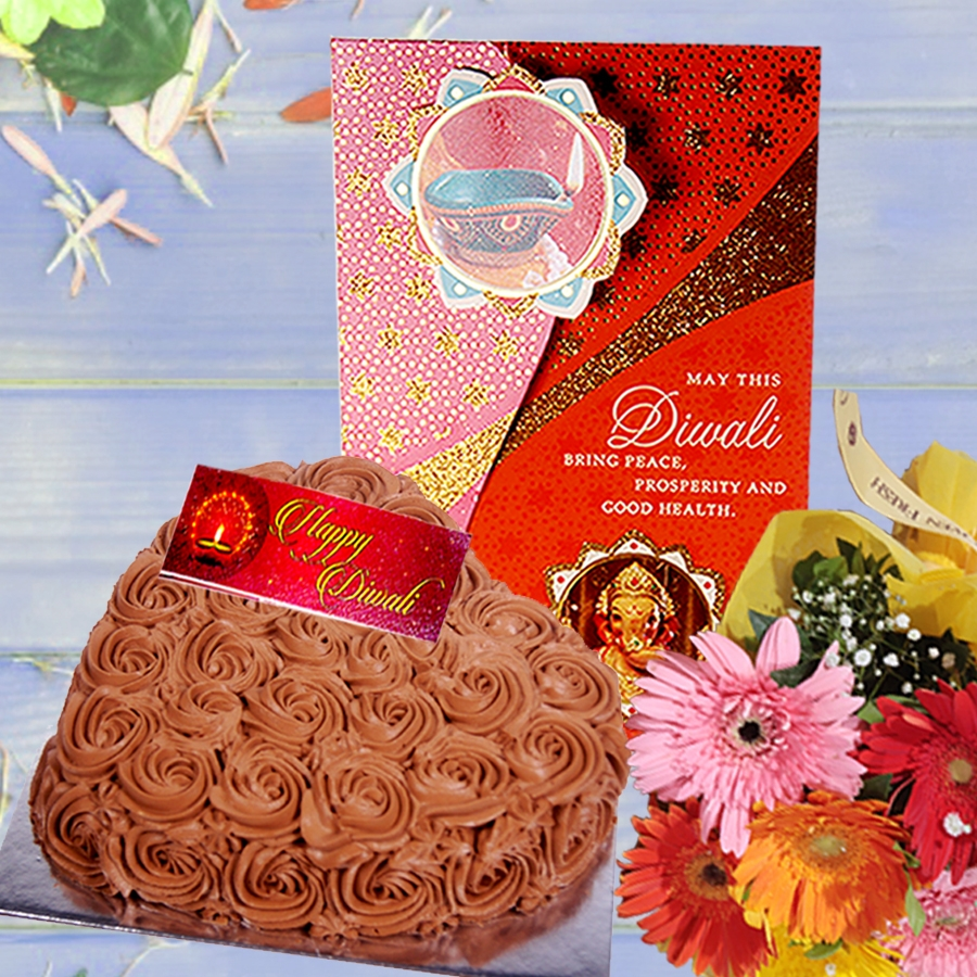 Diwali card with Chocolate dutch truffle heart shape cake 500gms and hand bouquet 6 flowers
