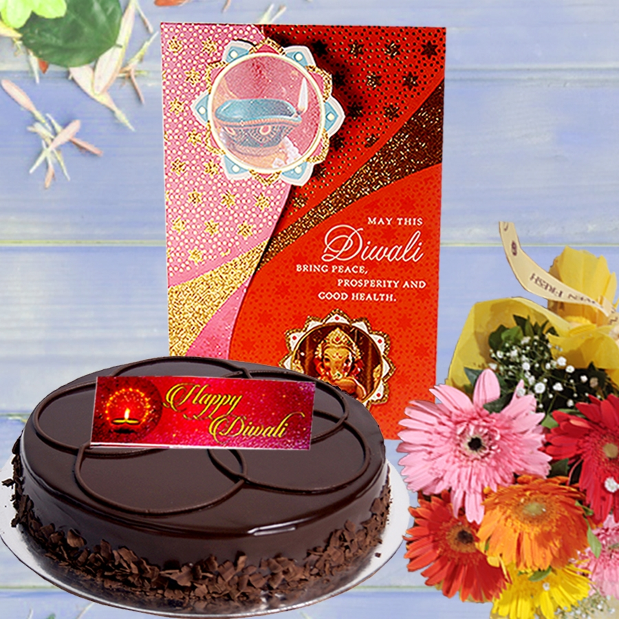 Diwali card with Chocolate dutch truffle shine cake 500gms and hand bouquet 6 flowers