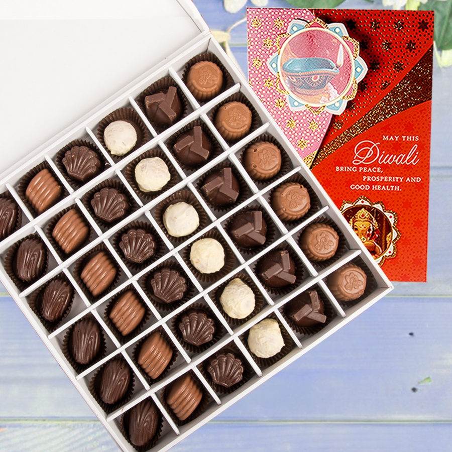 Diwali card with Box of 36 chocolate pralines
