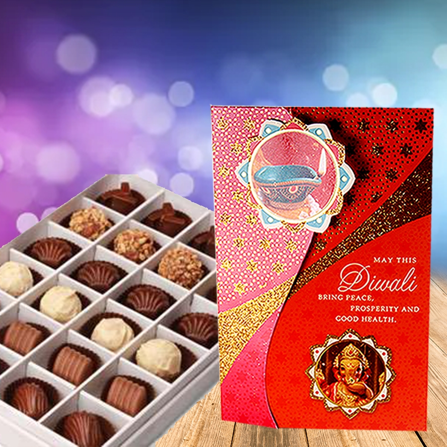 Diwali card with Box of 24 chocolate pralines
