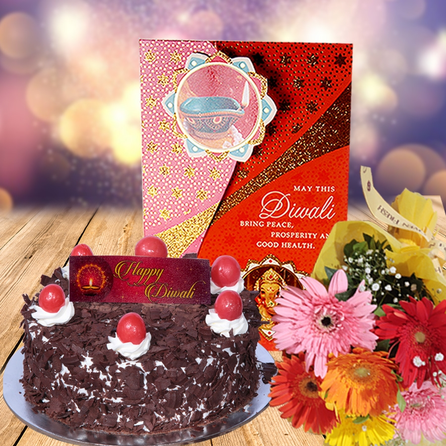 Diwali card with Classic Black forest 500 gms  and hand bouquet 6 flowers