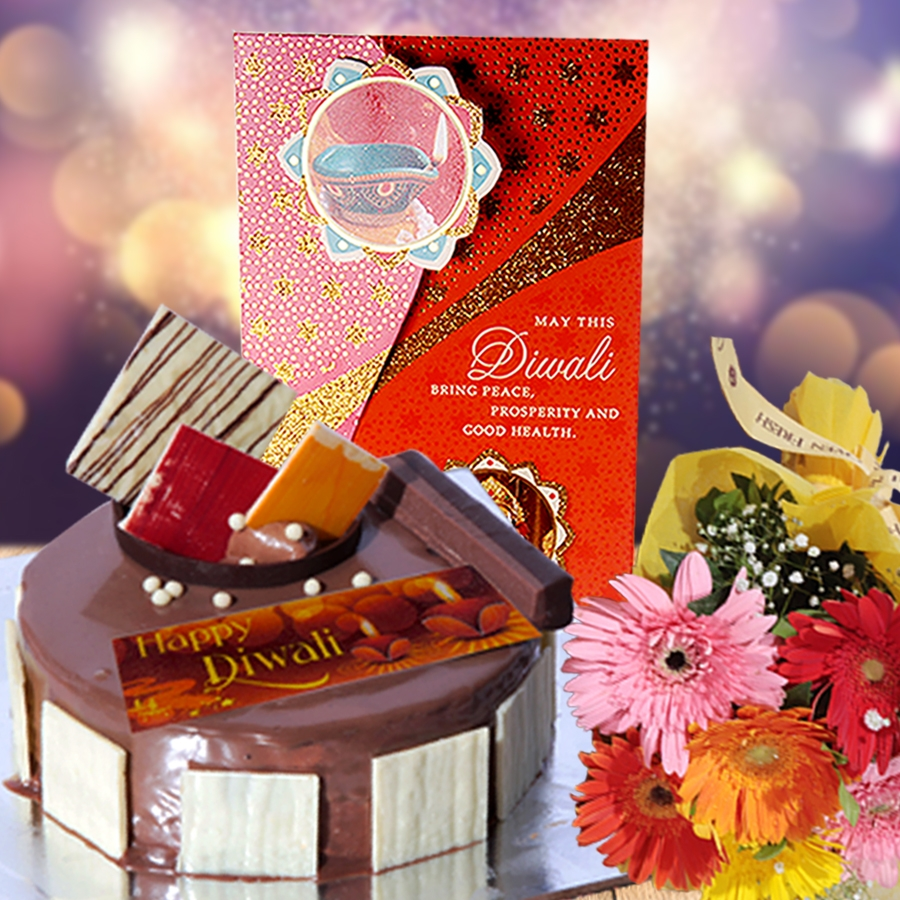 Diwali card with crunchy hazelnut 500 gms  and hand bouquet 6 flowers