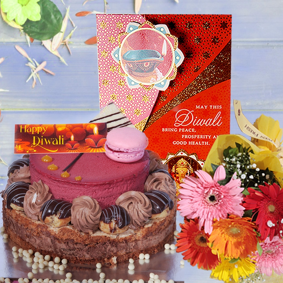 Diwali card with Desire 1kg  and hand bouquet 6 flowers