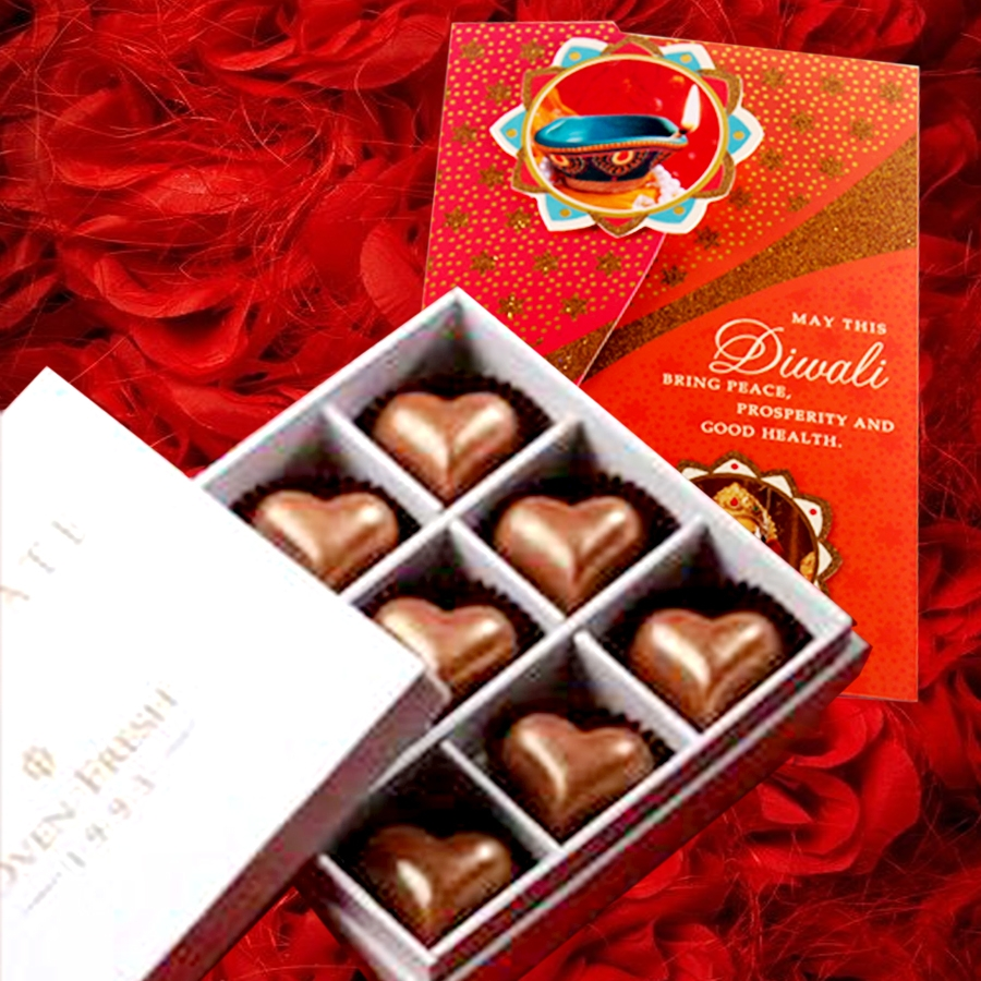 Diwali card with Box of 9 Heart shaped chocolate