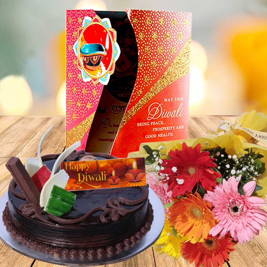 Diwali card with kitkat  cake 500gms and hand bouquet 6 flowers
