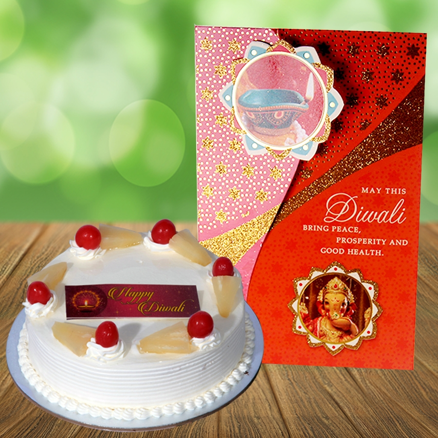 Diwali Card with pineapple cake 500gms