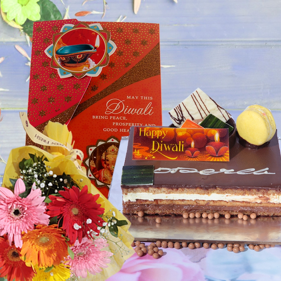 Diwali card with pistachio opera 500 gms  and hand bouquet 6 flowers