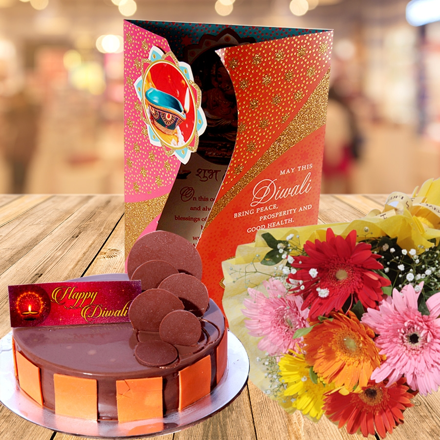 Diwali card with Royal chocolate almond cake 500gms and hand bouquet 6 flowers