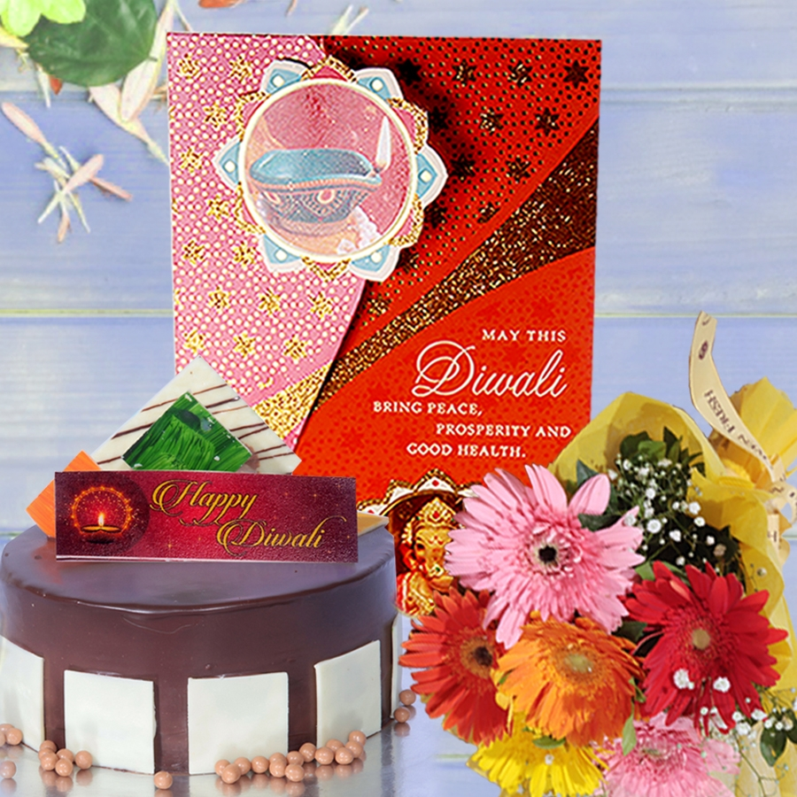Diwali card with Royal chocolate mousse cake 500gms and hand bouquet 6 flowers