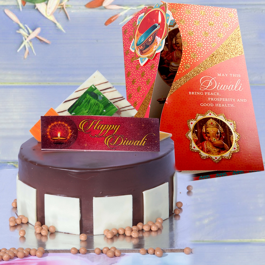 Diwali card with Royal chocolate mousse cake 500gms