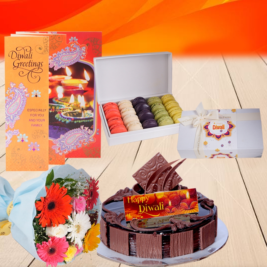 Diwali Chocolate Dutch Truffle  cake 500 gms, Diwali card , a bouquet of roses and gerbera and box of 20 macarons