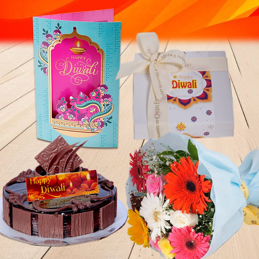 Diwali Chocolate Dutch Truffle  cake 500 gms, Diwali card , a bouquet of roses and gerbera and box of 9 chocolate pralines