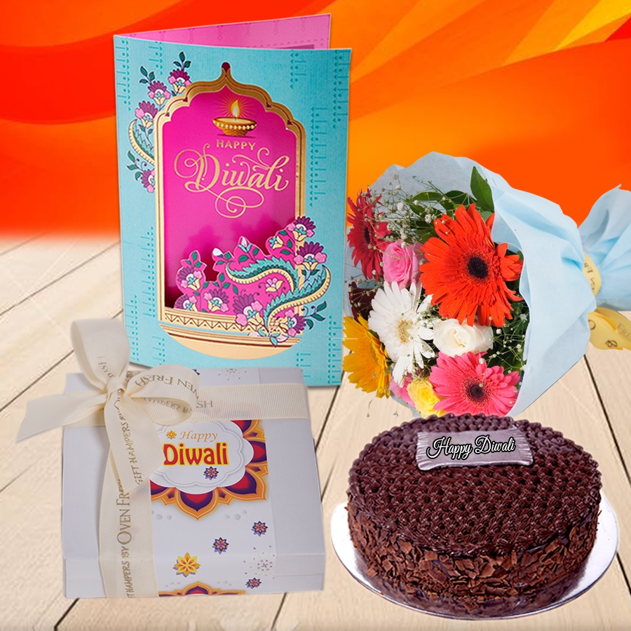 Diwali Chocolate dutch truffle classic 500 gms, Diwali card ,a bouquet of roses and gerbera and box of 9 chocolate pralines