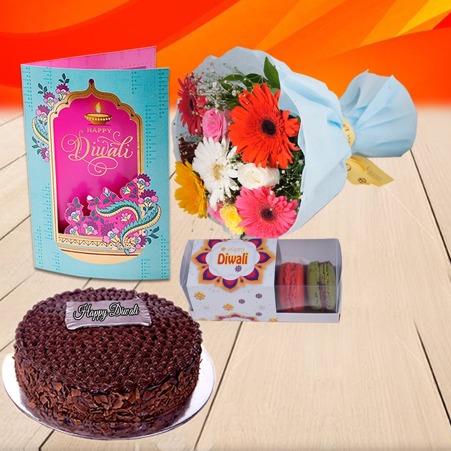 Diwali Chocolate dutch truffle classic cake 500 gms, Diwali card , a bouquet of roses and gerbera and box of 5 macarons