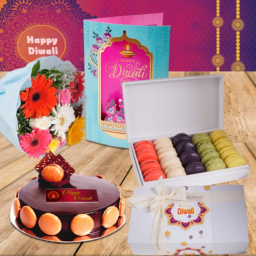 Diwali Chocolate dutch truffle divine 500 gms, Diwali card ,a bouquet of roses and gerbera and box of 20 macarons