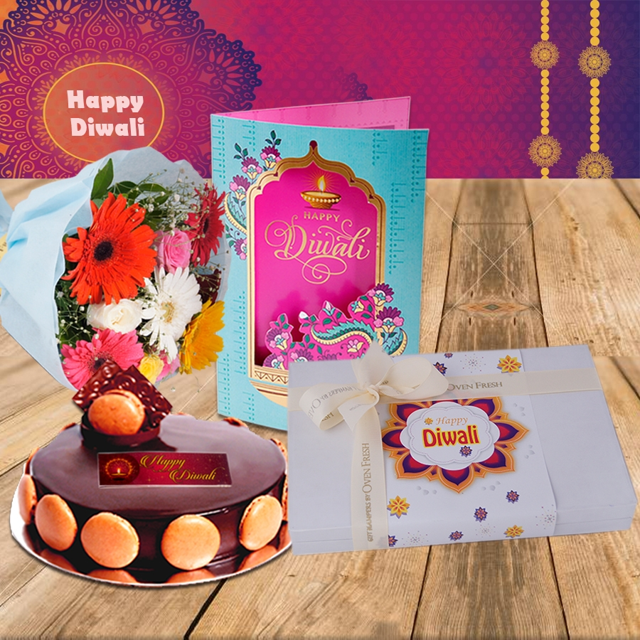 Diwali Chocolate dutch truffle divine 500 gms, Diwali card ,a bouquet of roses and gerbera and box of 24 chocolate pralines