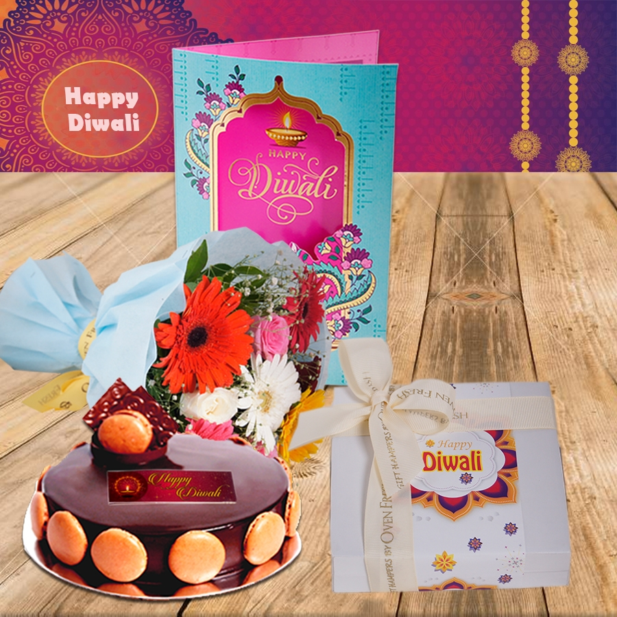 Diwali Chocolate dutch truffle divine 500 gms, Diwali card ,a bouquet of roses and gerbera and box of 9 chocolate pralines