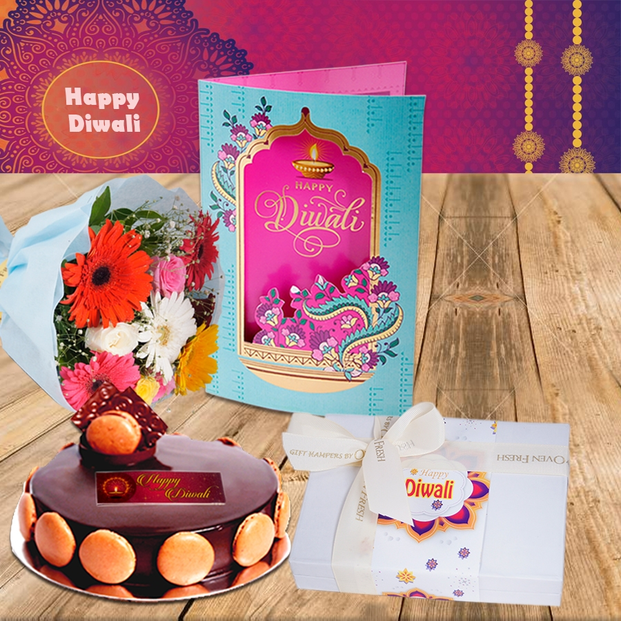 Diwali Chocolate dutch truffle divine 500 gms, Diwali card ,a bouquet of roses and gerbera and box of 12 chocolate pralines