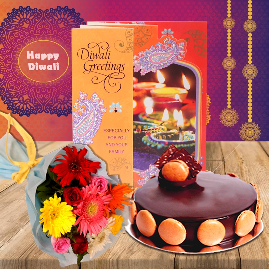 Diwali Chocolate dutch truffle divine 500 gms, Diwali card and a bouquet of roses and gerbera