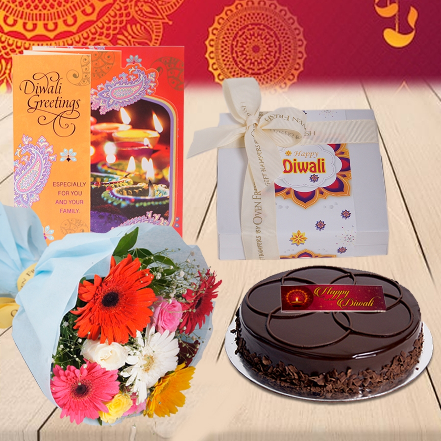 Diwali Chocolate Dutch Truffle  Shine cake 500 gms, Diwali card , a bouquet of roses and gerbera and box of 9 chocolate pralines