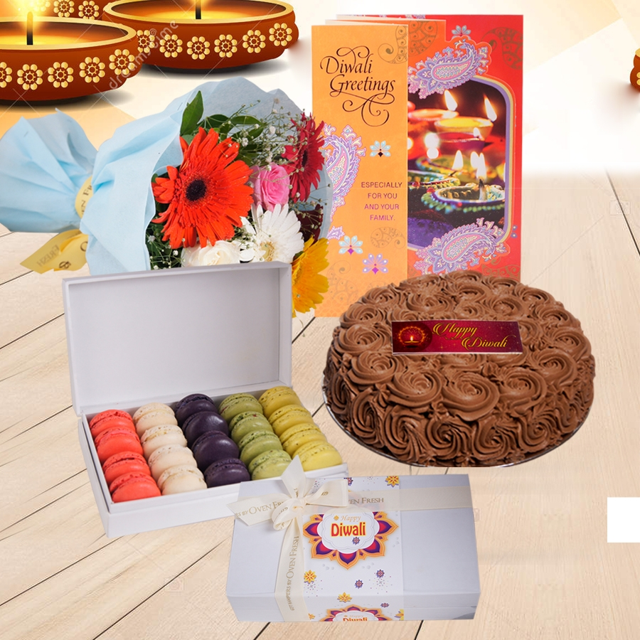 Diwali Chocolate dutch truffle Swirls cake 500 gms, Diwali card , a bouquet of roses and gerbera and box of 20 macarons