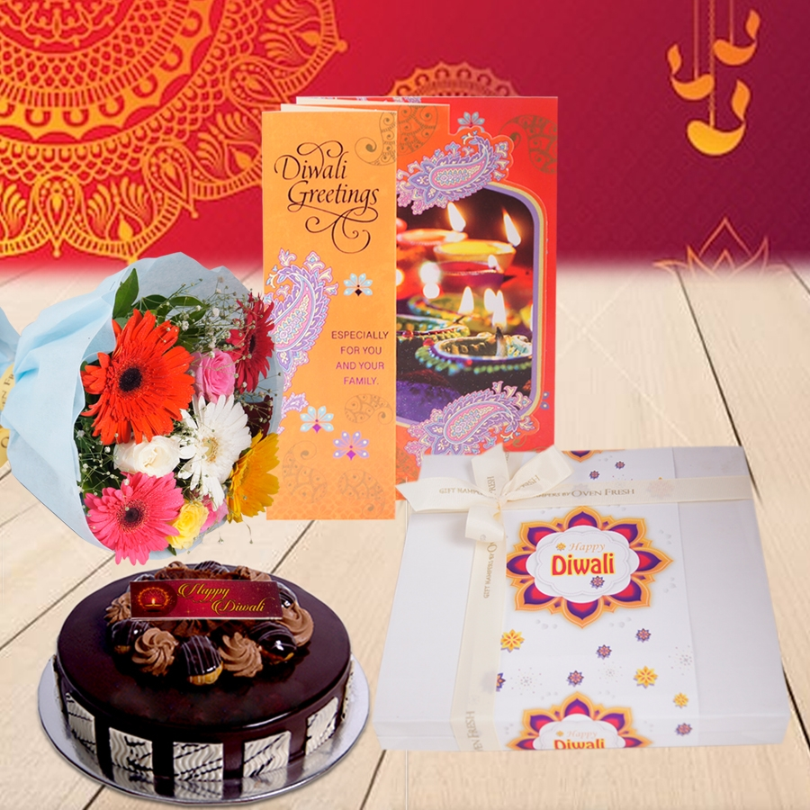 Diwali Chocolate dutch truffle Choux bun cake 500 gms, Diwali card , a bouquet of roses and gerbera and box of 24chocolate pralines